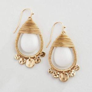 J. Jill Gorgeous teardrop earrings with white jade